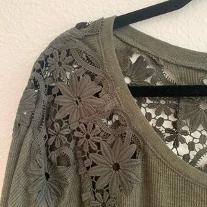 American Eagle Outfitters Sweaters - American Eagle AE Green Lace Back Sweater